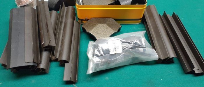 Miscellaneous rail caps and extrusions. Hard to find. Price varies.